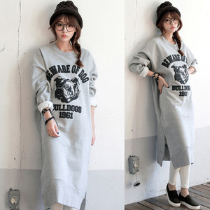 2015 fall and winter clothes new Korean Women cartoon split large size loose long section hedging cashmere sweater dress