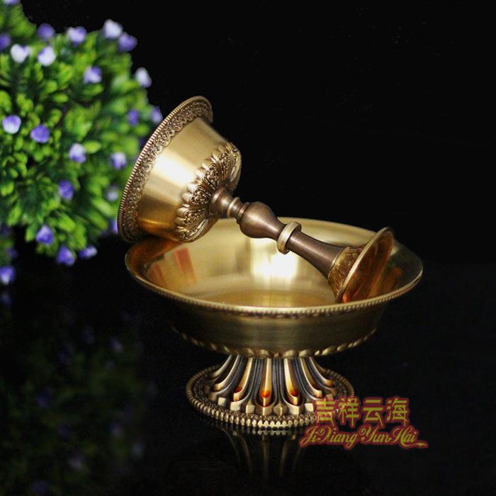 藏傳佛教佛堂精美佛具供具 純銅雕花護法杯 古銅色供杯 大號