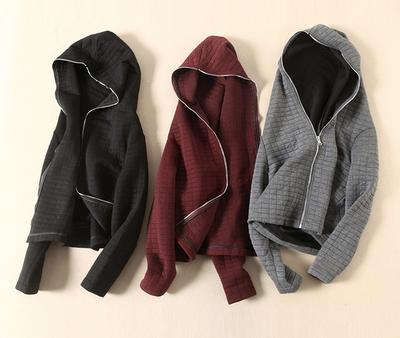 特 品质 棉真丝混纺立体暗格一体式拉链连帽女薄棉外套56272三色