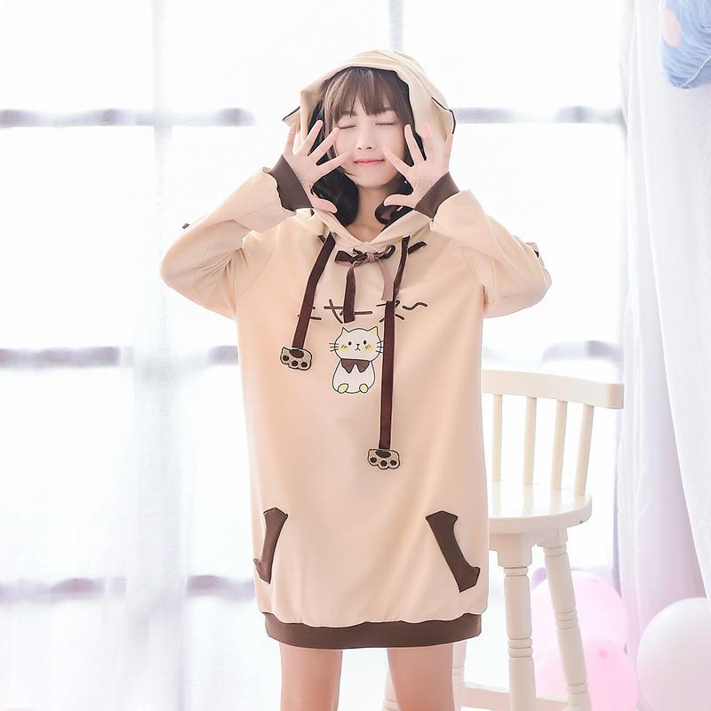 Váy/Áo nỉ nữ họa tiết in hoa chất mềm mại họa tiết mặt mèo mẫu mới mùa thu phong cách Nhật Bản liền mũ