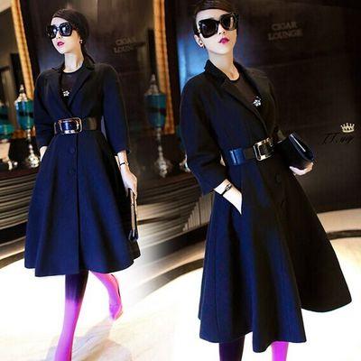 2015秋冬新款明星同款中长款羊毛呢外套加厚修身显瘦呢子大衣女