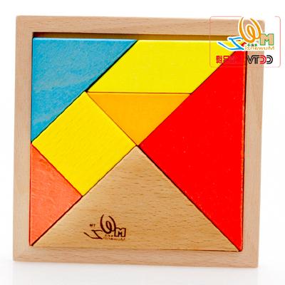 大号榉木七巧板彩色实木制积木玩具拼图拼板儿童益智