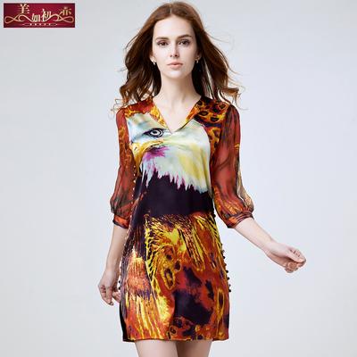 2015春装新款大码女装印花真丝连衣裙五分袖修身显瘦桑蚕丝裙子