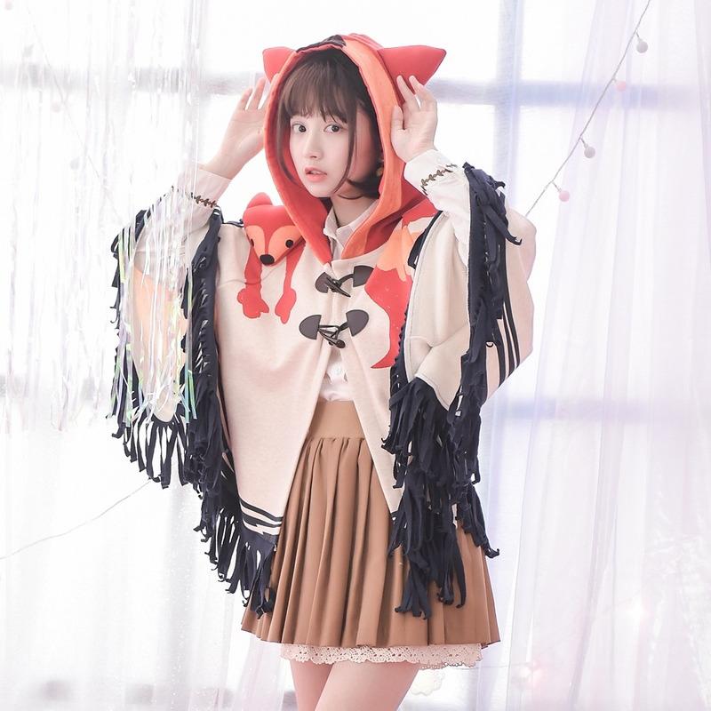 Áo khoác/Áo chuàng nữ rua trang trí hình ngộ nghĩnh phong cách cá tính hình hồ ly phong cách học sinh