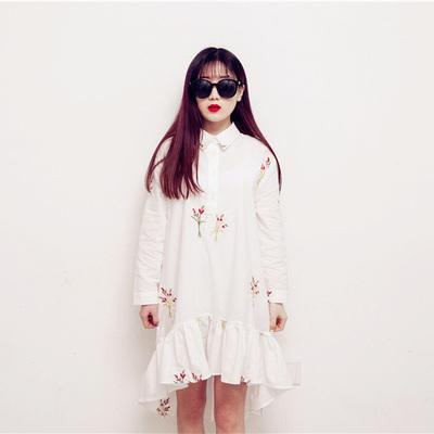 2015春季新品清新森女系刺绣翻领荷叶下摆不规则设计宽松棉连衣裙