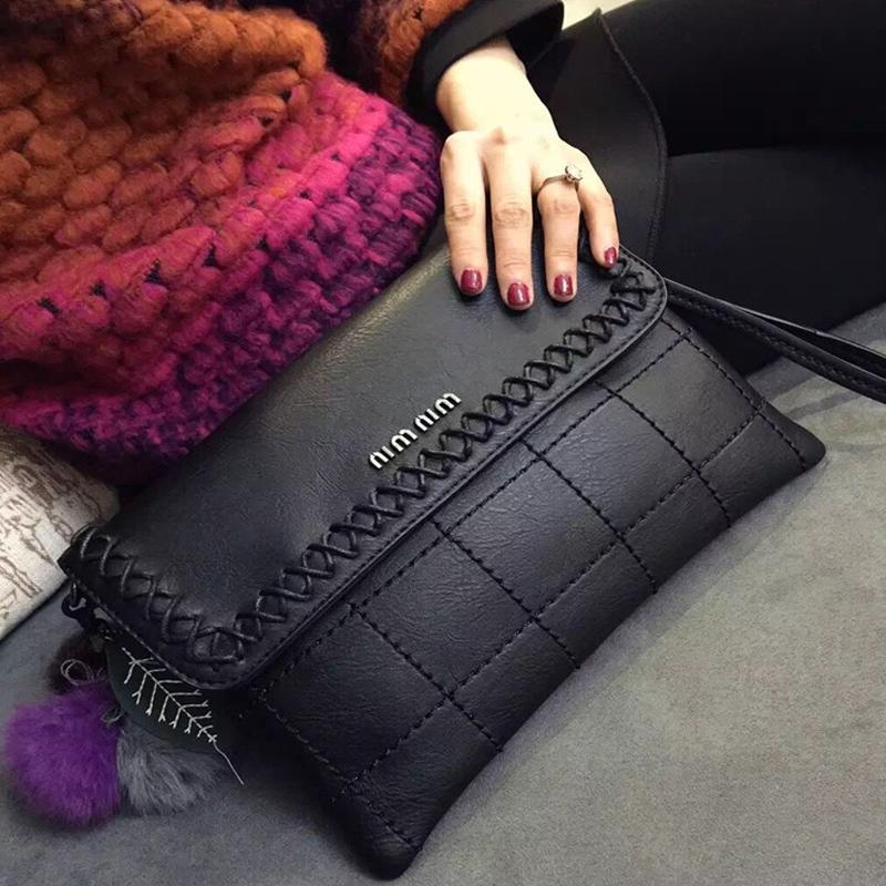 灰色女式單肩斜跨手拿包 2016新款潮真皮日韓斜挎手抓包 手包大容量女