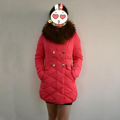 雅鹿2015新款羽绒服 女士脱卸毛大毛领中长女装冬装外套YQ1105090