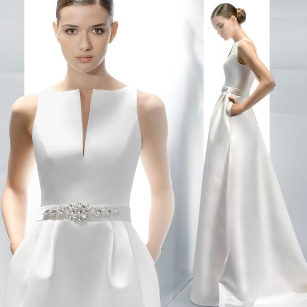修身显瘦一字肩厚缎小拖尾新娘婚纱礼服2015新款定制7182