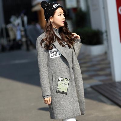 2015秋冬装新款西装领羊毛呢子大衣女中长款韩版宽松毛呢风衣外套