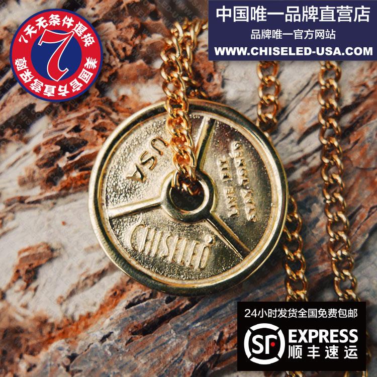 (现货)金色经典Chiseled杠铃片项链#优质不锈钢