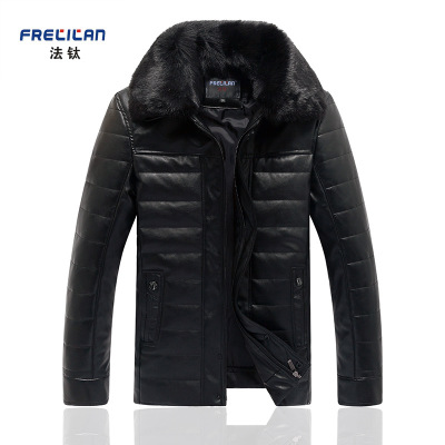 中老年冬季真皮皮衣男 休闲加绒加厚韩版外套夹克商务保暖大衣