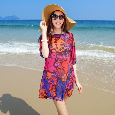 圆领度假沙滩裙短裙潮2015夏装韩版甜美七分袖雪纺碎花连衣裙