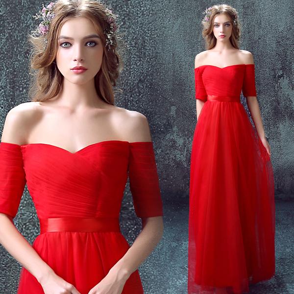 紅色中長袖新娘結婚敬酒服長款婚紗禮服旗袍2015冬季新款397Q