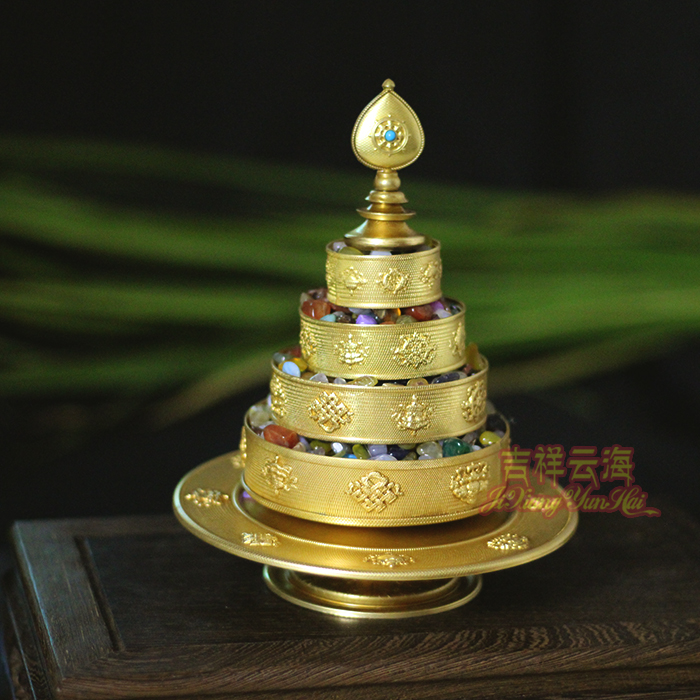 藏傳密宗法器供佛純銅八吉祥 五明佛學院定制曼扎盤 曼茶盤帶托盤