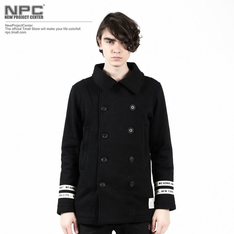 【NPC】NCS潮牌男装 2015冬季新品男装双排扣大衣 男士夹克外套