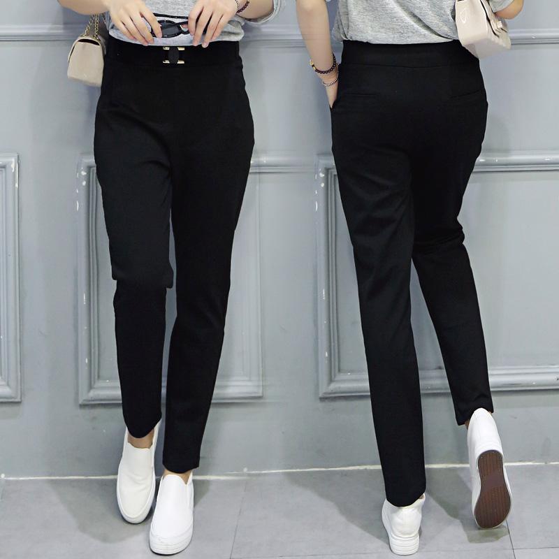 黑色长裤女装秋季松紧高腰休闲裤