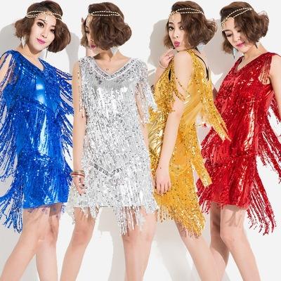 新款拉丁舞服装女成人亮片连衣裙演出服比赛服流苏女歌手舞台服装