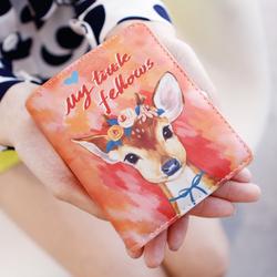 手绘风女士钱包 女短款 韩版可爱学生卡通涂鸦搭扣女式钱夹皮夹