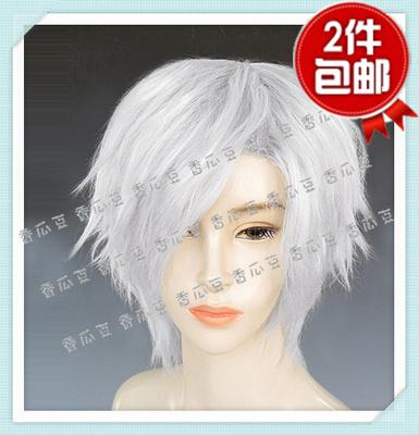 战国 basara-hanbe竹中半兵卫cosplay 假发中发浅灰色直发偏刘海