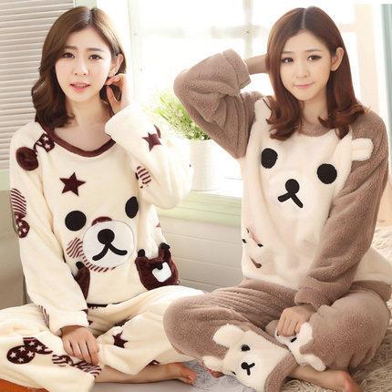 春秋冬季韩版加厚法兰绒睡衣女冬款可爱卡通珊瑚绒服