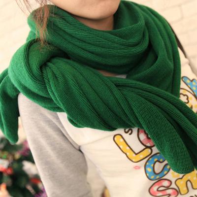 秋冬新款长款针织围巾 仿羊绒毛线围巾披肩 韩版男女红黄绿色围巾