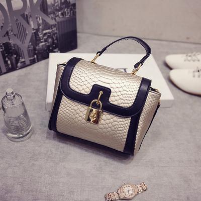 欧美明星款蛇纹挂锁女包高档优质小箱包时尚手提包袋斜跨包包