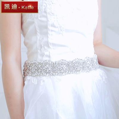 凯迪奢华手工钉珠水钻珍珠新娘礼服婚纱写真摄影腰带显瘦腰封腰饰