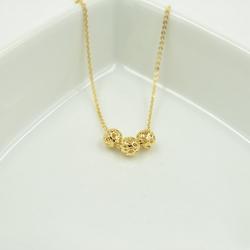 [冰点价] 【天天特价】韩国时尚镀18K金色花纹 镂空多圆球 锁骨链 项链女