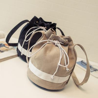 2016韩版夏季新款水桶包简约帆布包女包单肩斜挎包文艺复古小包包