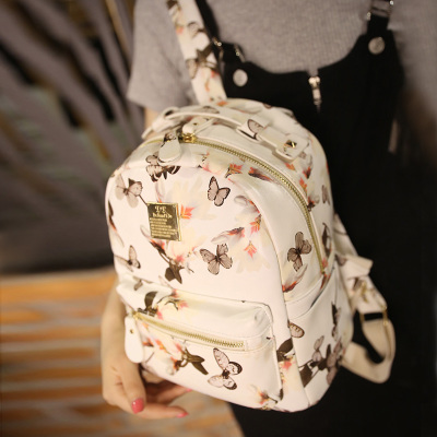 2015 Korean summer new butterfly flowers small backpack floral PU ladies fashion small backpack backpack women