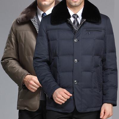 冬装新款中年男士羽绒服翻领加厚中长款轻薄商务外套中老年爸爸装