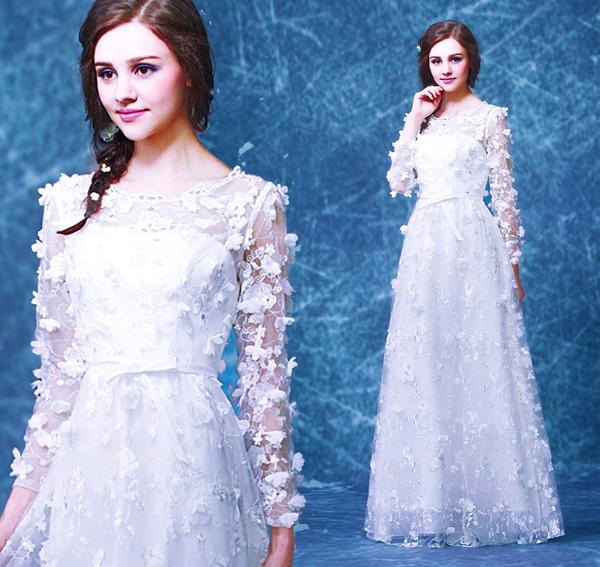 白色花瓣新娘結婚敬酒服長袖晚宴年會婚紗禮服2015冬季新款0301