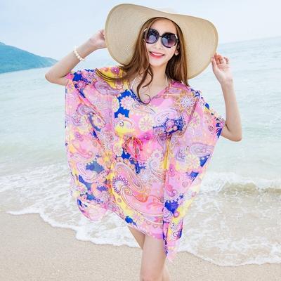 波西米亚沙滩防晒衫宽松大码蝙蝠袖雪纺衫印花上衣套头罩衫