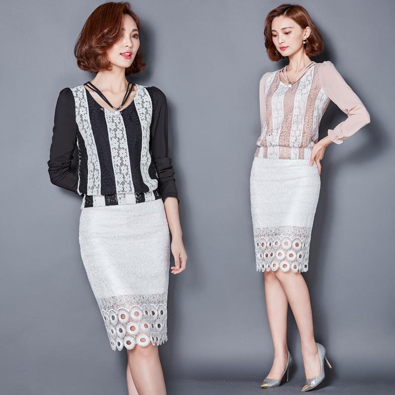 显瘦撞色拼接秋装长袖短款蕾丝衫女