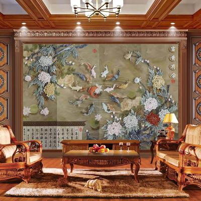 现代中式玉雕画配电箱挂画立体浮雕壁画客厅沙发背景
