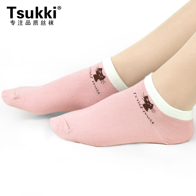 Tsukki猫咪提花船袜 女 日系甜美棉袜短袜 棉质吸汗透气运动舒适