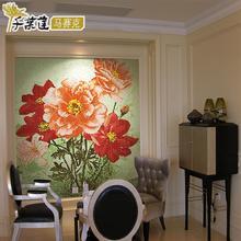 千叶莲 玻璃水晶建材马赛克背景墙陶瓷砖玄关餐厅拼图拼花 牡丹香