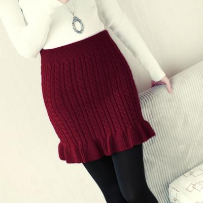 2015秋冬季新款加厚打底麻花木耳边打底半身包臀短裙子弹力毛线女