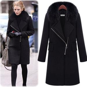 2015冬装新款呢大衣欧美绯闻女孩同款狐狸毛领修身毛呢大衣外套女