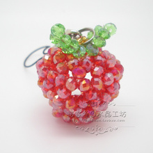 查看水晶吊坠 高档串珠水晶 摆客帝国 手工编织水晶串珠挂件 小苹果