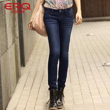 ERQ春秋装新款女裤低腰修身牛仔裤小脚铅笔长裤显瘦韩版潮小直筒