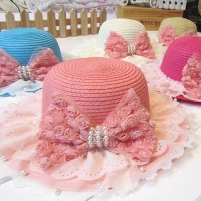 宝宝蕾丝大檐草帽子夏季女童沙滩帽遮阳帽防晒帽儿童太阳帽韩国版