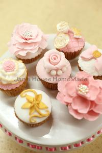 简屋 上海同城 纸杯 翻糖杯子蛋糕 粉色金色  洛可可 甜品台 婚礼