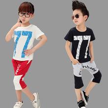 查看2015夏季新款女童套装韩版中大儿童装短袖七分裤纯棉男童运动套装