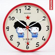 MAXHOME儿童卧室卡通钟表12英寸少先队员客厅静音金属挂钟石英钟