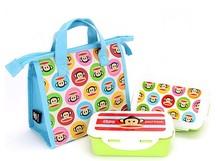 查看韩国代购进口正品大嘴猴儿童卡通分格饭盒/学生小孩便当盒 带包