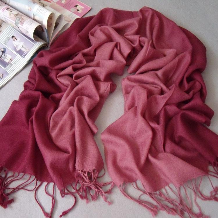 清仓包邮韩版女士秋冬保暖渐变纯羊毛围巾披肩两用 酒红色渐变