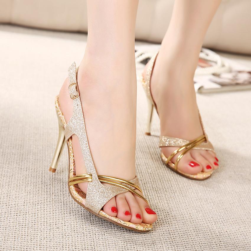 夏季女式中跟凉鞋亮片金色高跟凉鞋一字带高跟鞋鱼嘴鞋细跟凉拖-女