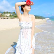 查看bikini比基尼钢托三件套裙摆式泳衣女士小胸聚拢韩国温泉碎花罩衫