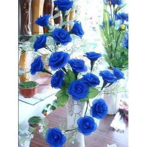 特价丝网花材料套装丝袜花材料包20枝蓝玫瑰材料包蓝色妖姬